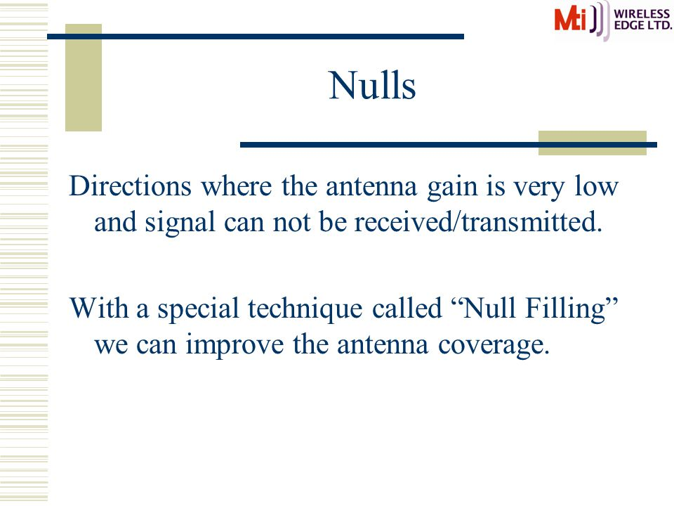Nulls Directions where the antenna gain is very low and signal can not be received/transmitted.
