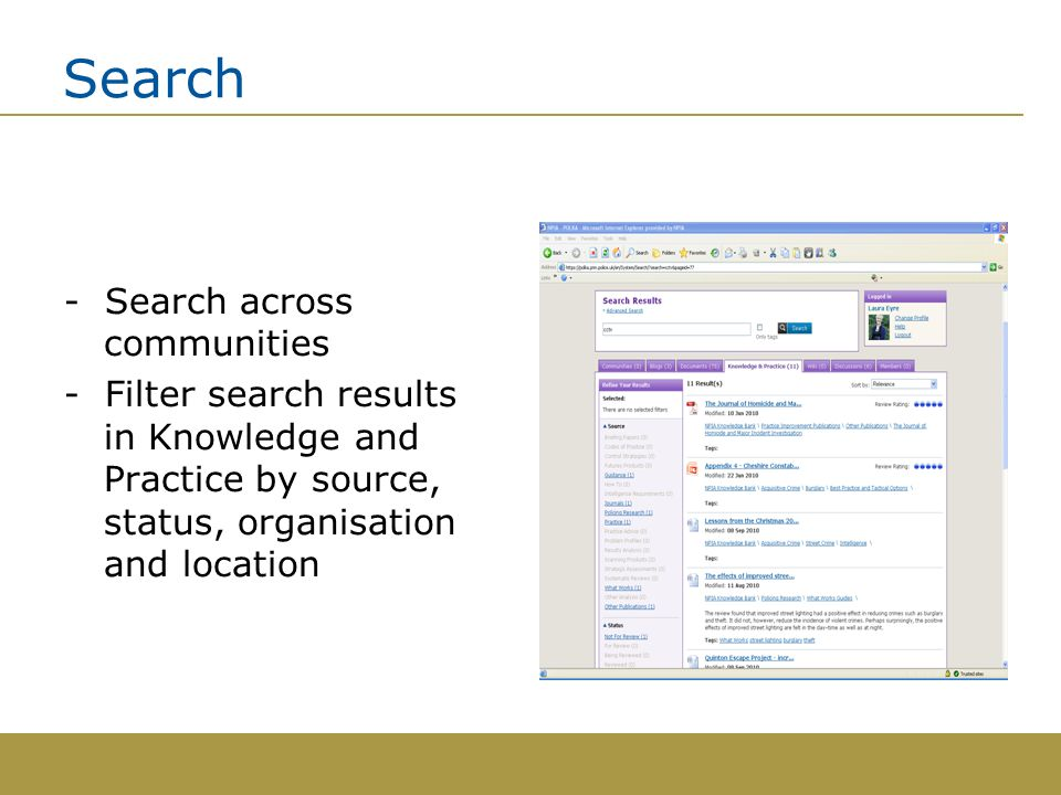 Search - Search across communities - Filter search results in Knowledge and Practice by source, status, organisation and location