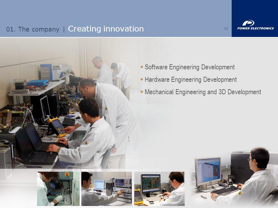 10  Software Engineering Development  Hardware Engineering Development  Mechanical Engineering and 3D Development 01. The company | Creating innova
