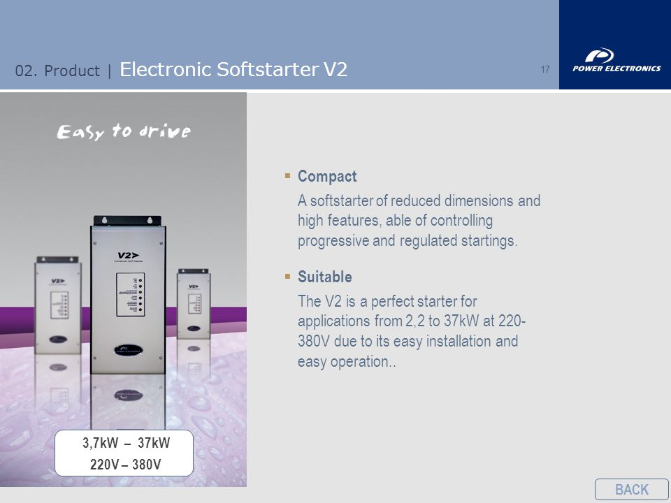 17  Compact A softstarter of reduced dimensions and high features, able of controlling progressive and regulated startings.