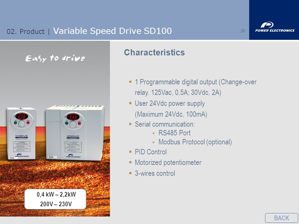 26 02. Product | Variable Speed Drive SD100 Characteristics  1 Programmable digital output (Change-over relay. 125Vac, 0,5A; 30Vdc, 2A)  User 24Vdc