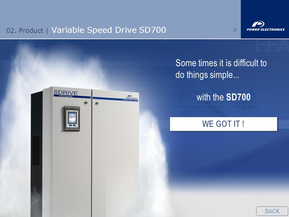 36 02. Product | Variable Speed Drive SD700 Some times it is difficult to do things simple...