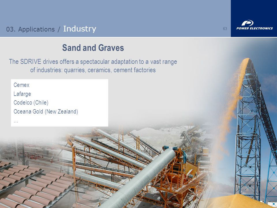 63 03. Applications / Industry Sand and Graves The SDRIVE drives offers a spectacular adaptation to a vast range of industries: quarries, ceramics, ce