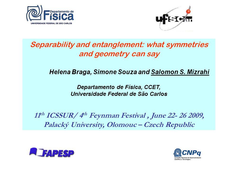 1 Separability and entanglement: what symmetries and geometry can say Helena Braga, Simone Souza and Salomon S. Mizrahi Departamento de Física, CCET,