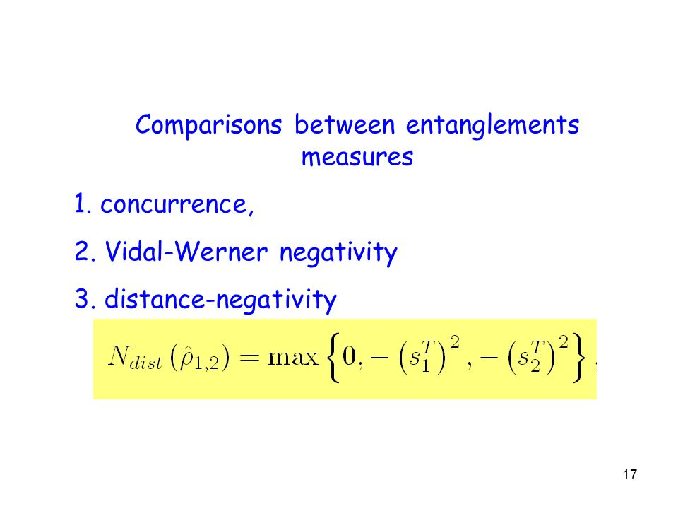 17 Comparisons between entanglements measures 1. concurrence, 2.