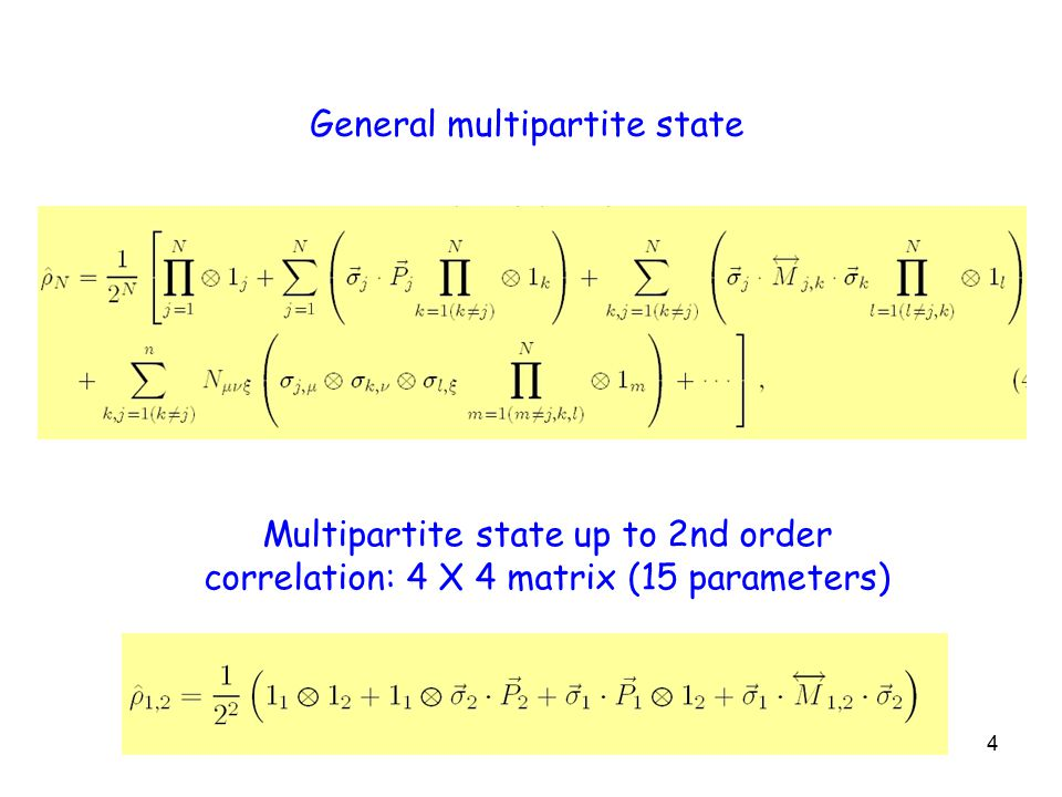 4 Multipartite state up to 2nd order correlation: 4 X 4 matrix (15 parameters) General multipartite state