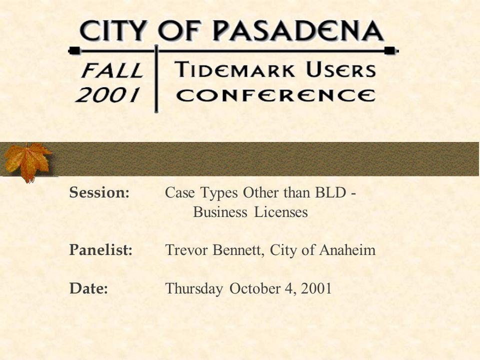 October 2001 Tidemark User s Conference12 Business License Applications Walk-in Customer completes input form and makes payment Staff enters data in Permit Plan Prints out form that includes completed application with License Tax Certificate attached Customer departs having applied, made payment and received certificate