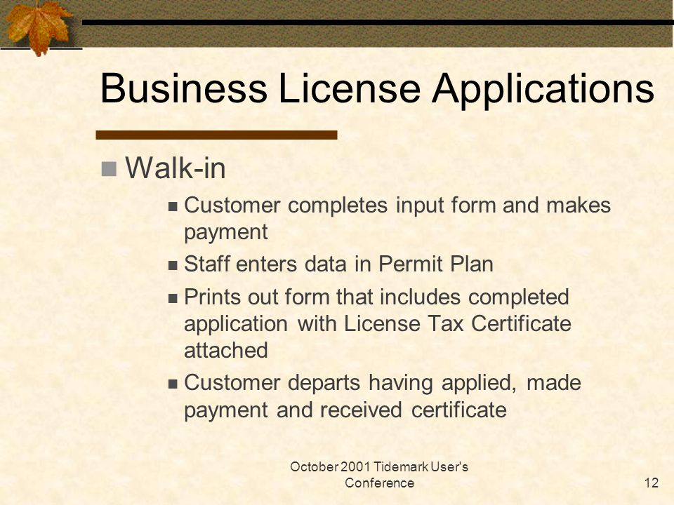 October 2001 Tidemark User's Conference12 Business License Applications Walk-in Customer completes input form and makes payment Staff enters data in P