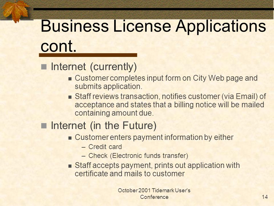 October 2001 Tidemark User's Conference14 Business License Applications cont. Internet (currently) Customer completes input form on City Web page and