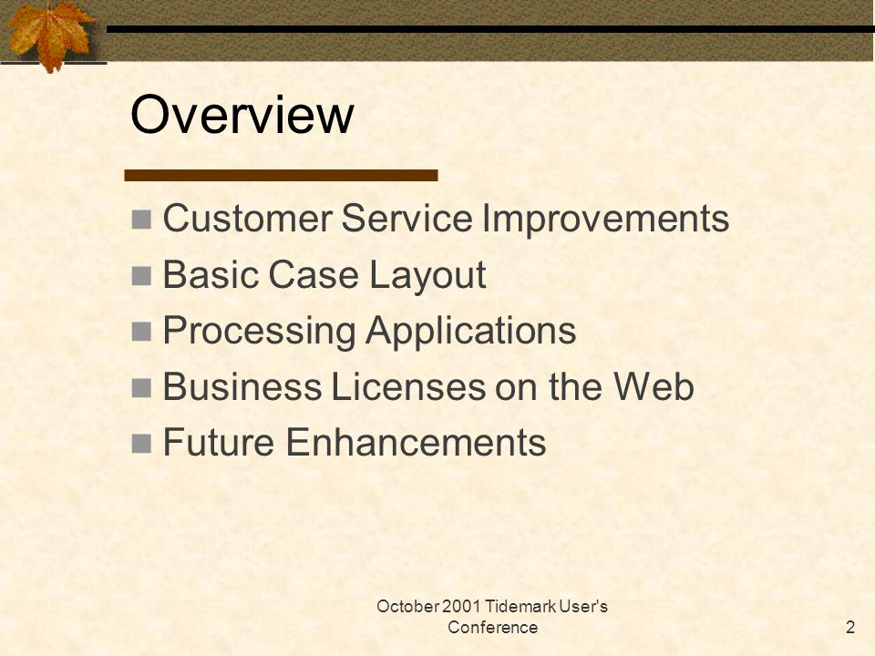 October 2001 Tidemark User s Conference2 Overview Customer Service Improvements Basic Case Layout Processing Applications Business Licenses on the Web Future Enhancements