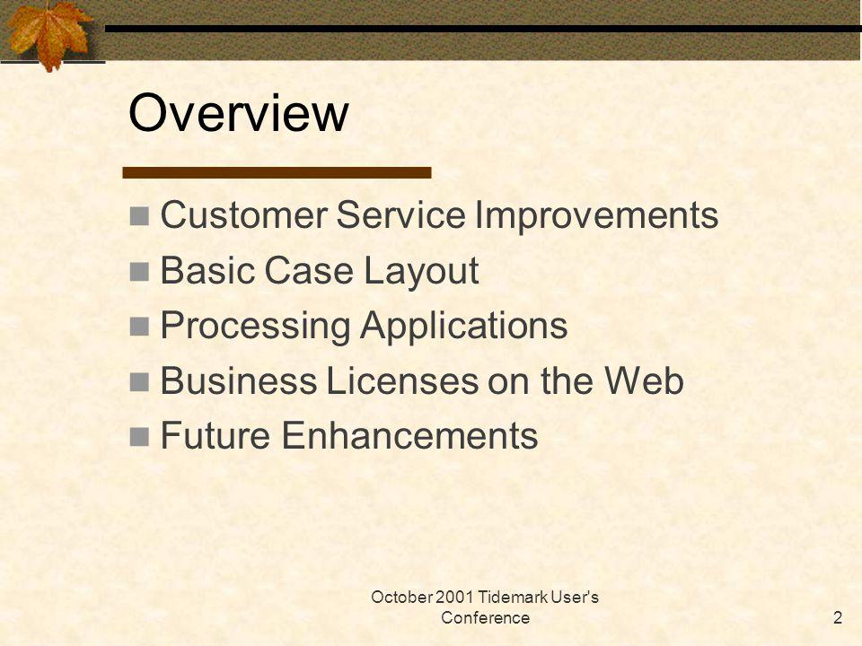 October 2001 Tidemark User s Conference23 Business Address