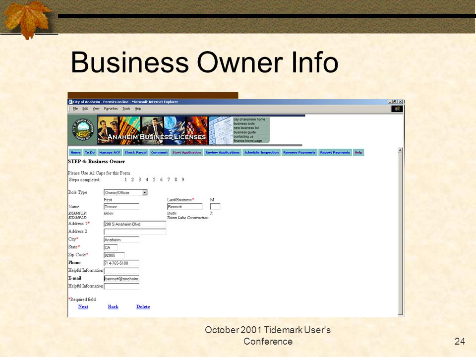 October 2001 Tidemark User's Conference24 Business Owner Info