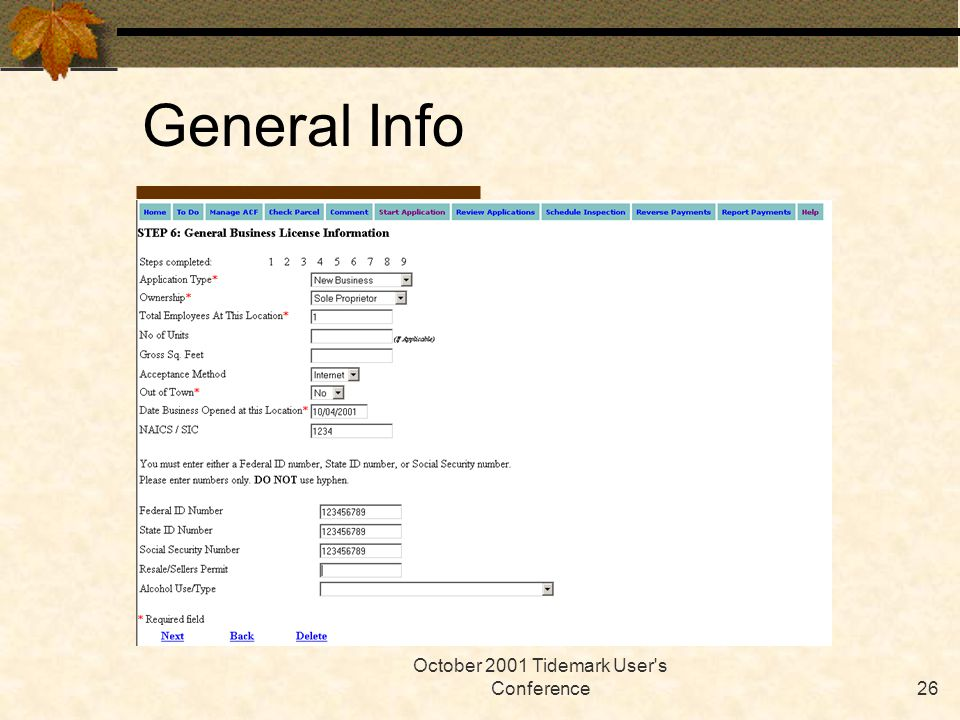 October 2001 Tidemark User's Conference26 General Info