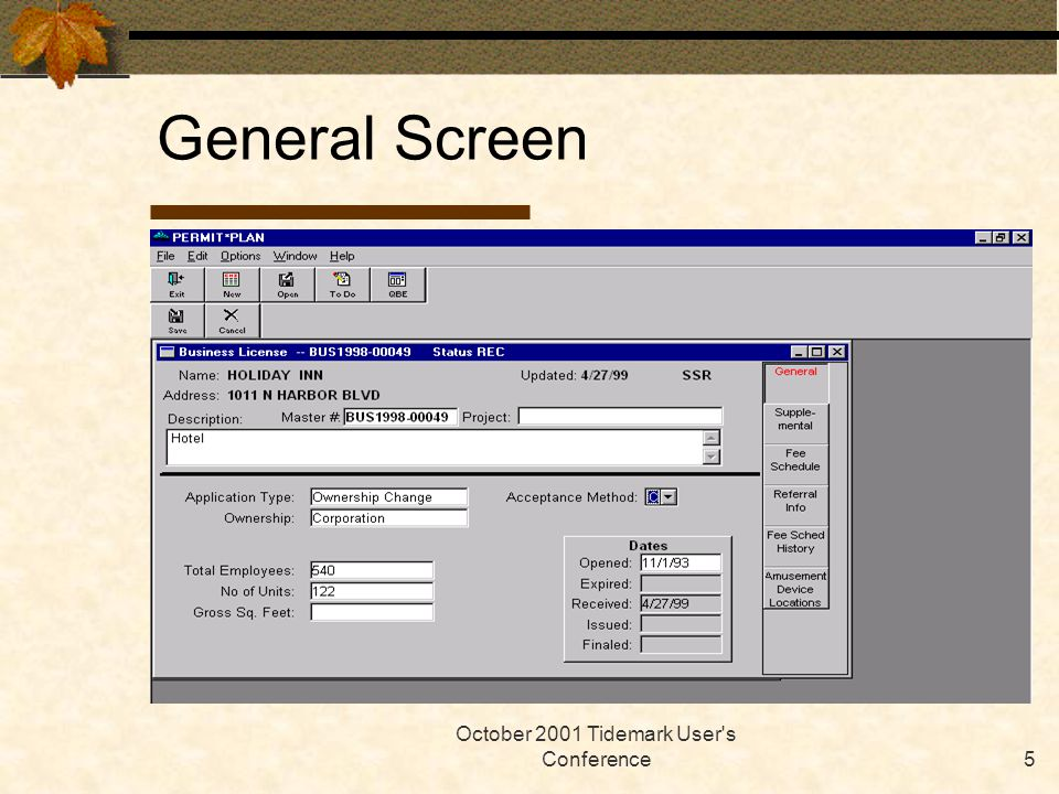 October 2001 Tidemark User s Conference5 General Screen