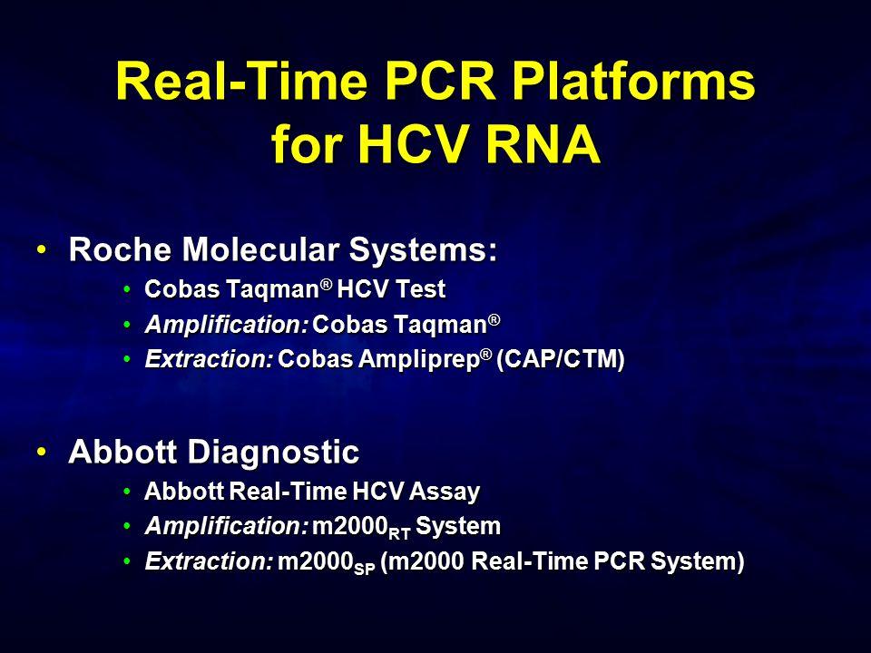 Real-Time PCR Platforms for HCV RNA Roche Molecular Systems:Roche Molecular Systems: Cobas Taqman ® HCV TestCobas Taqman ® HCV Test Amplification: Cob