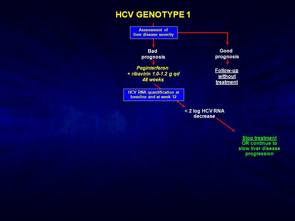 HCV GENOTYPE 1 < 2 log HCV RNA decrease HCV RNA quantification at baseline and at week 12 Assessment of liver disease severity Bad prognosis Good prog