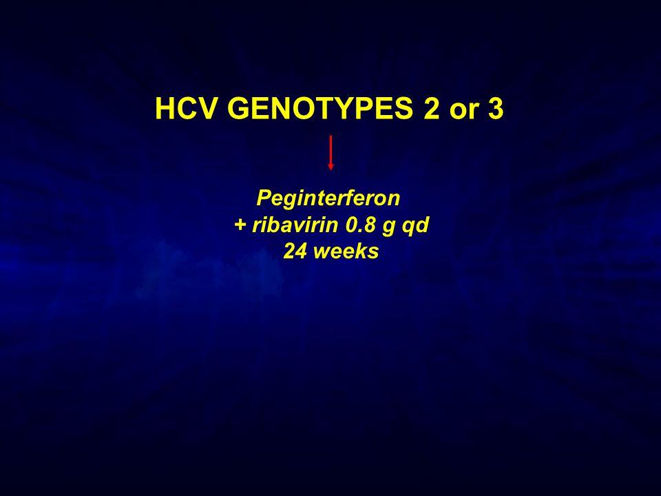 Peginterferon + ribavirin 0.8 g qd 24 weeks HCV GENOTYPES 2 or 3