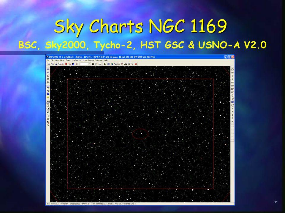 11 Sky Charts NGC 1169 BSC, Sky2000, Tycho-2, HST GSC & USNO-A V2.0
