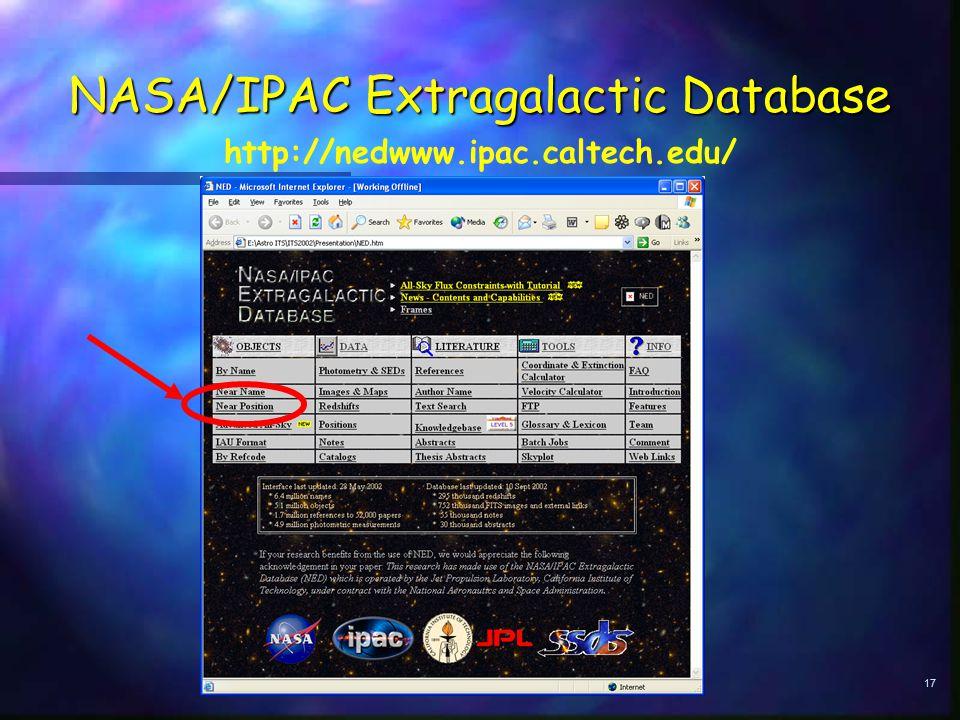 17 NASA/IPAC Extragalactic Database http://nedwww.ipac.caltech.edu/
