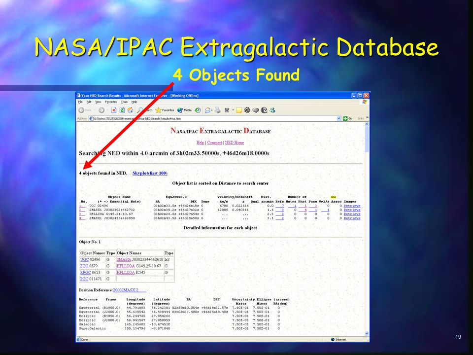 19 NASA/IPAC Extragalactic Database 4 Objects Found
