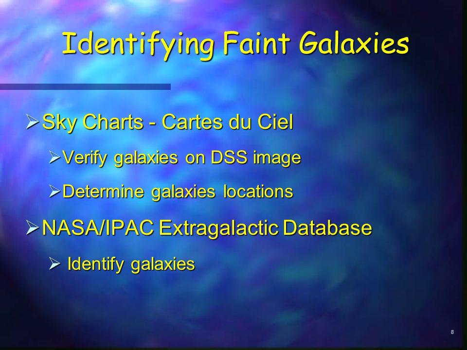 8 Identifying Faint Galaxies  Sky Charts - Cartes du Ciel  Verify galaxies on DSS image  Determine galaxies locations  NASA/IPAC Extragalactic Database  Identify galaxies
