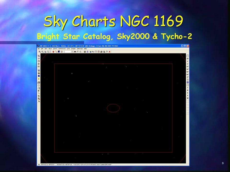 9 Sky Charts NGC 1169 Bright Star Catalog, Sky2000 & Tycho-2
