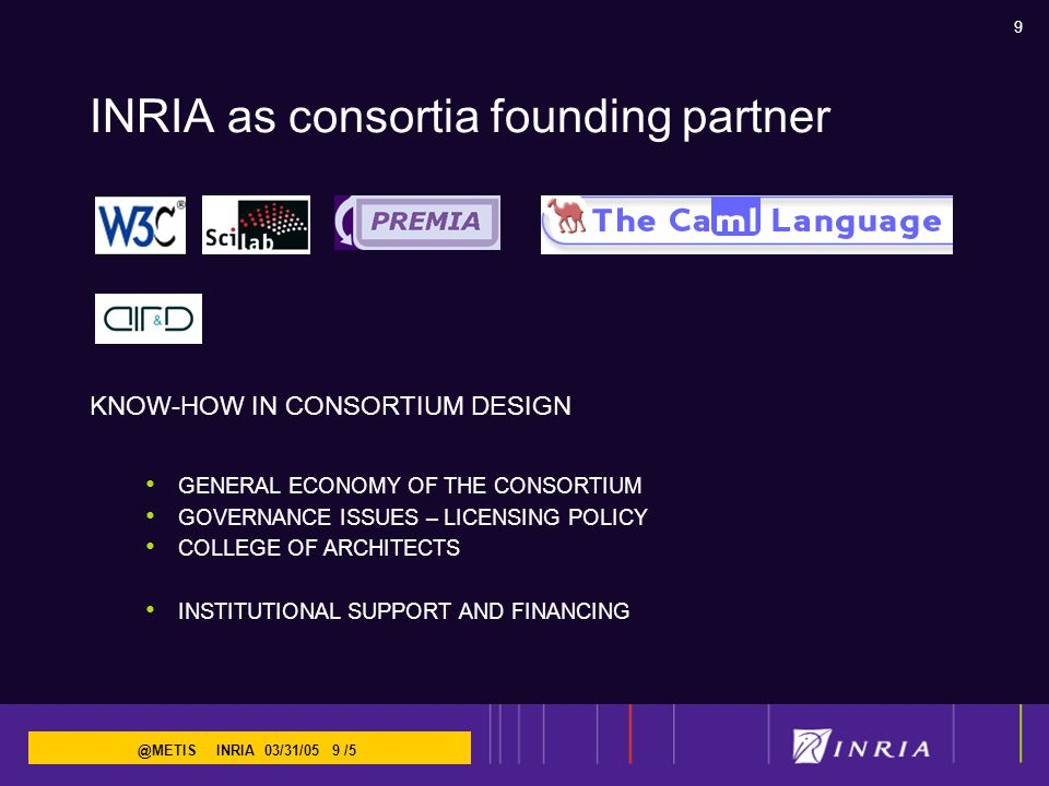 9 @METIS INRIA 03/31/05 9 /5 INRIA as consortia founding partner KNOW-HOW IN CONSORTIUM DESIGN GENERAL ECONOMY OF THE CONSORTIUM GOVERNANCE ISSUES – LICENSING POLICY COLLEGE OF ARCHITECTS INSTITUTIONAL SUPPORT AND FINANCING