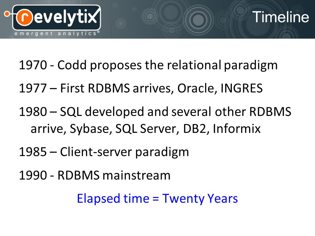 Timeline 1970 - Codd proposes the relational paradigm 1977 – First RDBMS arrives, Oracle, INGRES 1980 – SQL developed and several other RDBMS arrive,
