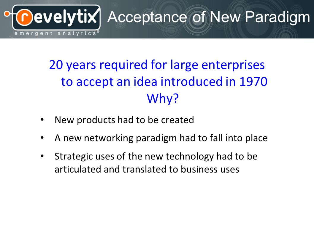 Acceptance of New Paradigm 20 years required for large enterprises to accept an idea introduced in 1970 Why? New products had to be created A new netw