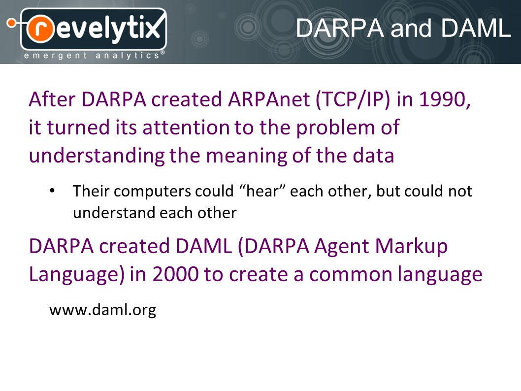 DARPA and DAML After DARPA created ARPAnet (TCP/IP) in 1990, it turned its attention to the problem of understanding the meaning of the data Their computers could hear each other, but could not understand each other DARPA created DAML (DARPA Agent Markup Language) in 2000 to create a common language www.daml.org