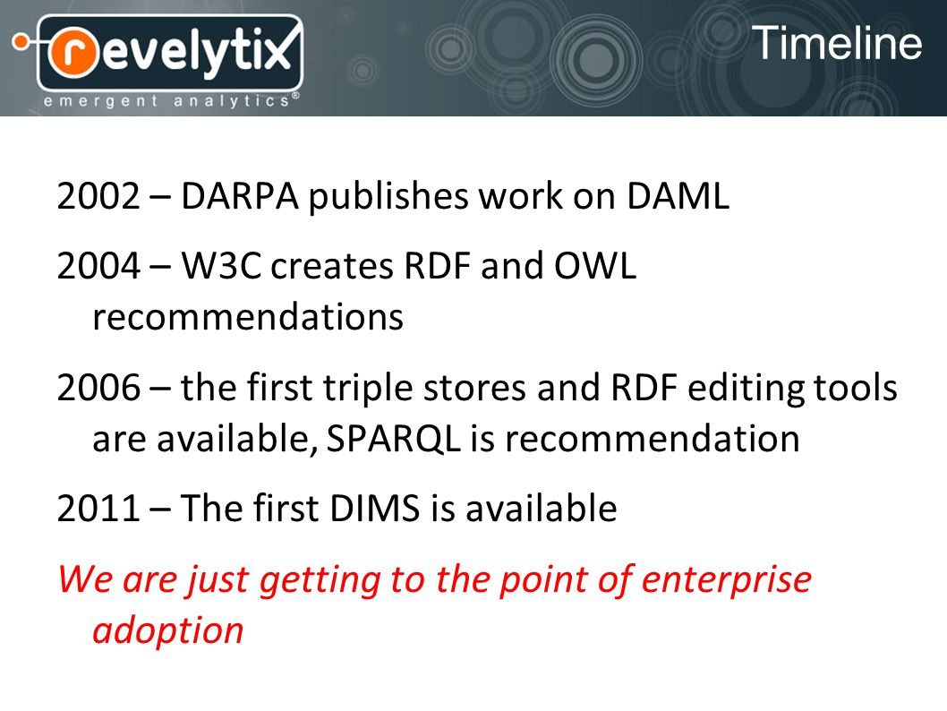Timeline 2002 – DARPA publishes work on DAML 2004 – W3C creates RDF and OWL recommendations 2006 – the first triple stores and RDF editing tools are a