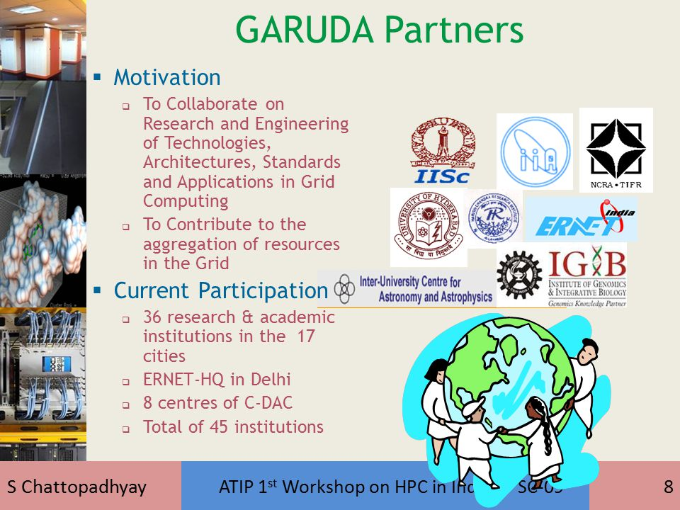 S Chattopadhyay ATIP 1 st Workshop on HPC in India @ SC-099 Virtual User Community  Astrophysics  High Energy Physics & Astronomy  Grid Technology  Disaster Management  Earth Science  Bioinformatics (Genome)  Computational Fluid Dynamics  Network Technology