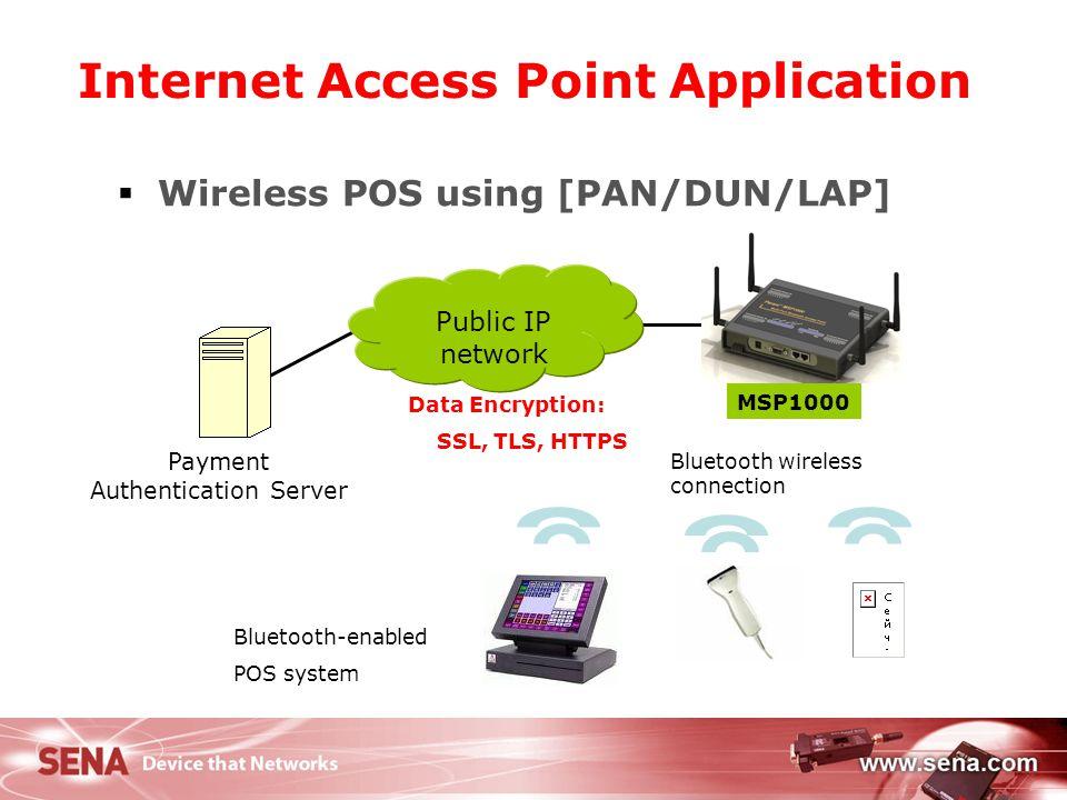 21 Internet Access Point Application  Wireless POS using [PAN/DUN/LAP] Public IP network Payment Authentication Server Data Encryption: SSL, TLS, HTT