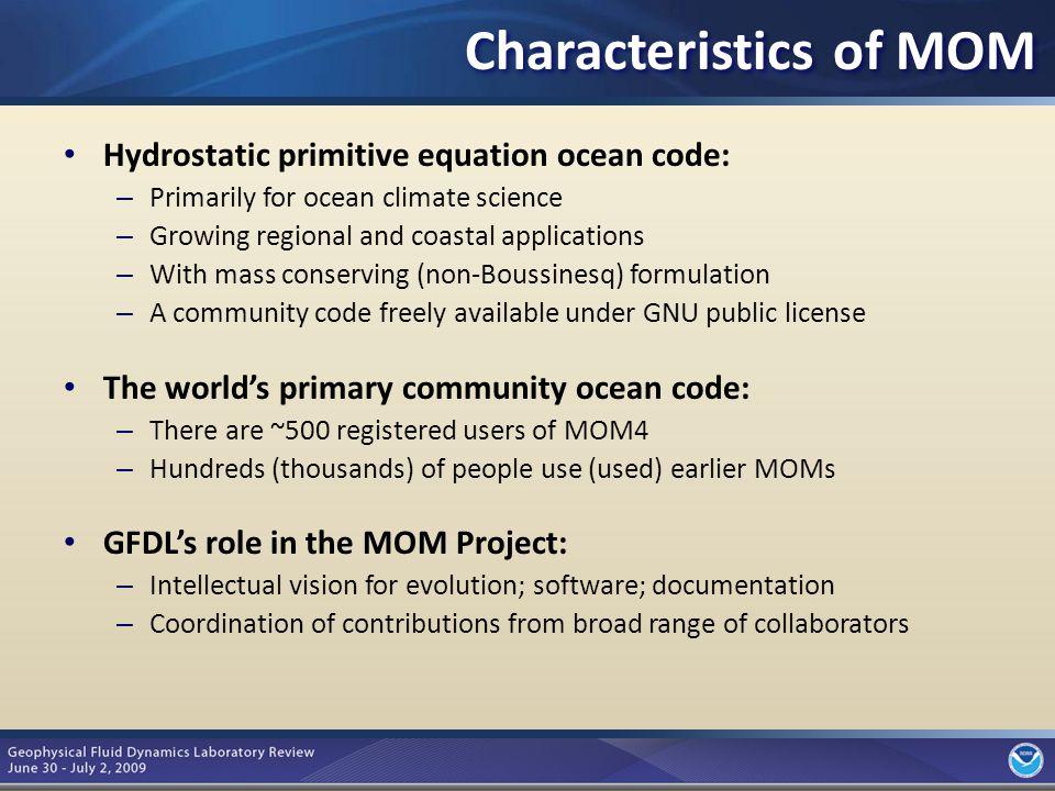 4 AR4 Climate Models CM2.0/CM2.1 AR5 Climate/Earth System Models CM2M/ESM2M AR5 Decadal Variability/Prediction CM2.1/CM2.4 NCEP Climate Forecast System v2 Key NOAA Applications of MOM4