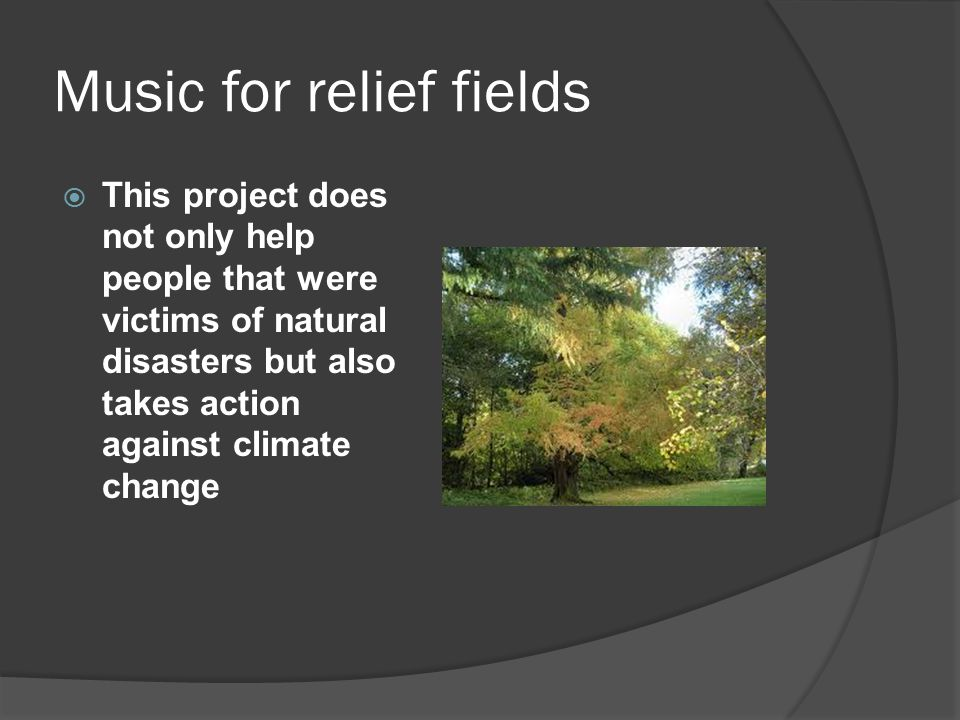 Music for relief fields  This project does not only help people that were victims of natural disasters but also takes action against climate change