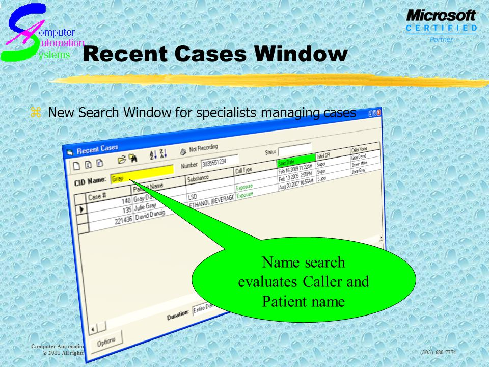 (303)-680-7774 Recent Cases Window Computer Automation Systems, Inc.