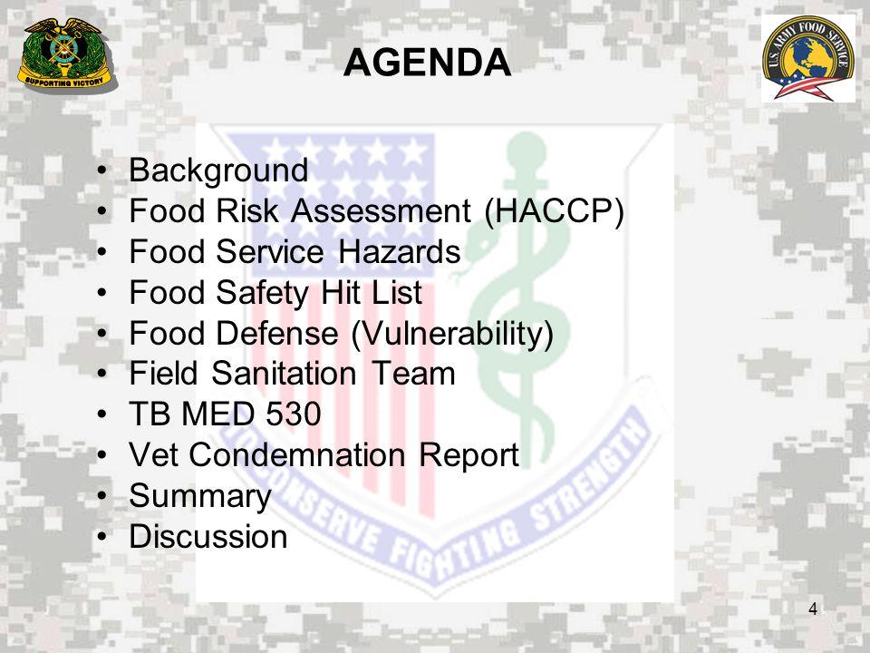 25 SUMMARY Food Risk Assessment (HACCP) Food Service Hazards Food Safety Hit List Food Defense (Vulnerability) Field Sanitation Team TB MED 530 Vet Condemnation Report
