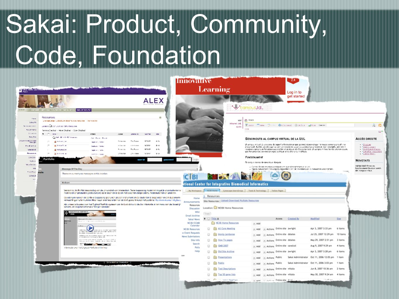 Sakai: Product, Community, Code, Foundation