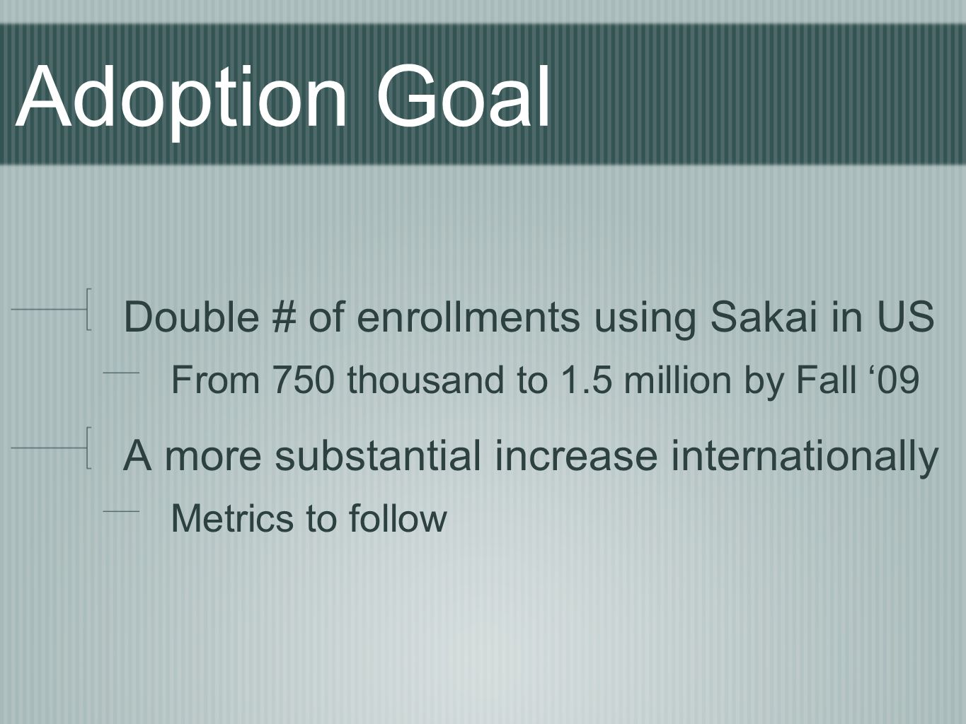 Adoption Goal Double # of enrollments using Sakai in US From 750 thousand to 1.5 million by Fall '09 A more substantial increase internationally Metrics to follow