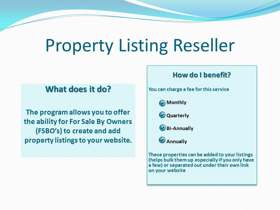 Property Listing Reseller What does it do.