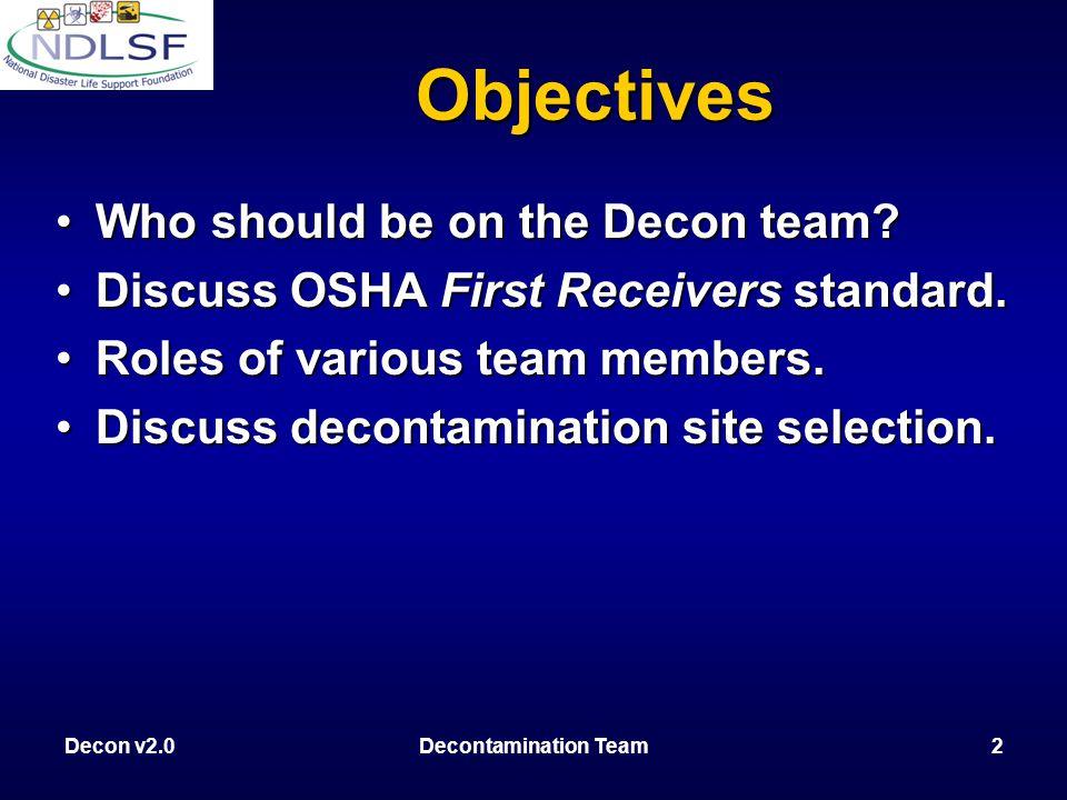 Decon v2.0Decontamination Team13 Wet Decon Litter Decon Dry Decon