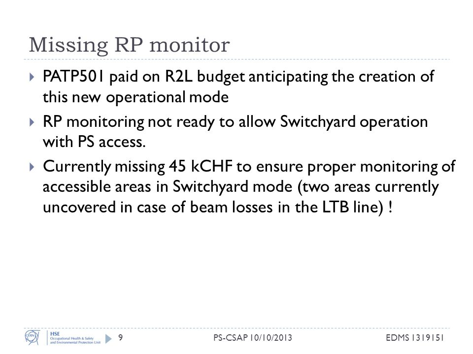Missing RP monitor 9  PATP501 paid on R2L budget anticipating the creation of this new operational mode  RP monitoring not ready to allow Switchyard operation with PS access.