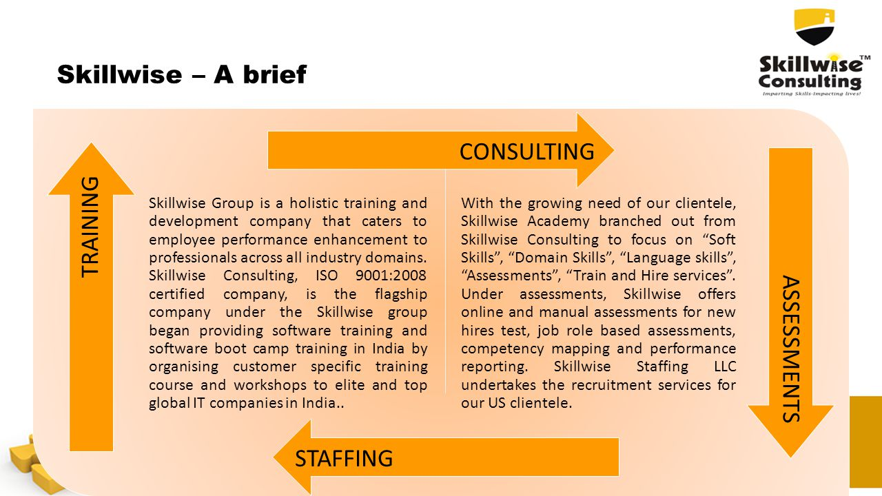 Skillwise – A brief Skillwise Group is a holistic training and development company that caters to employee performance enhancement to professionals ac