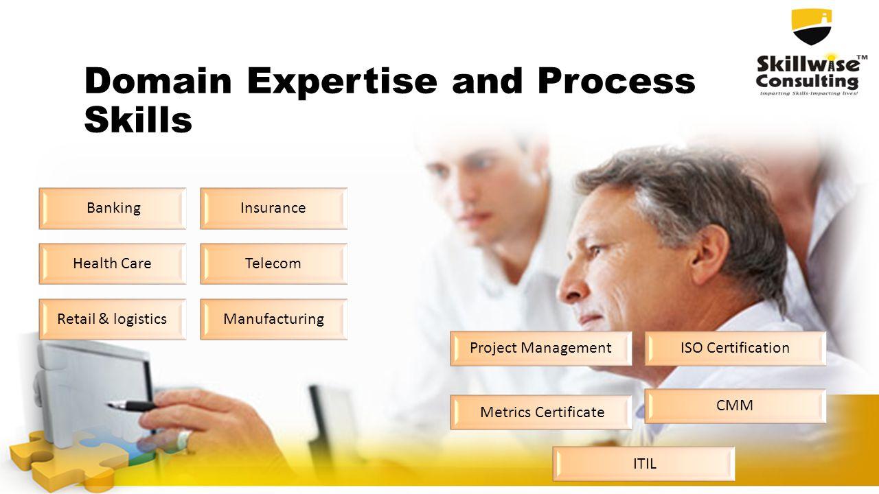 Domain Expertise and Process Skills BankingInsurance Health CareTelecom Retail & logisticsManufacturing Project ManagementISO Certification Metrics Certificate CMM ITIL