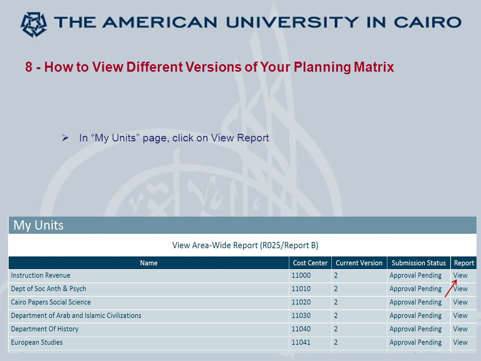 8 - How to View Different Versions of Your Planning Matrix  In My Units page, click on View Report