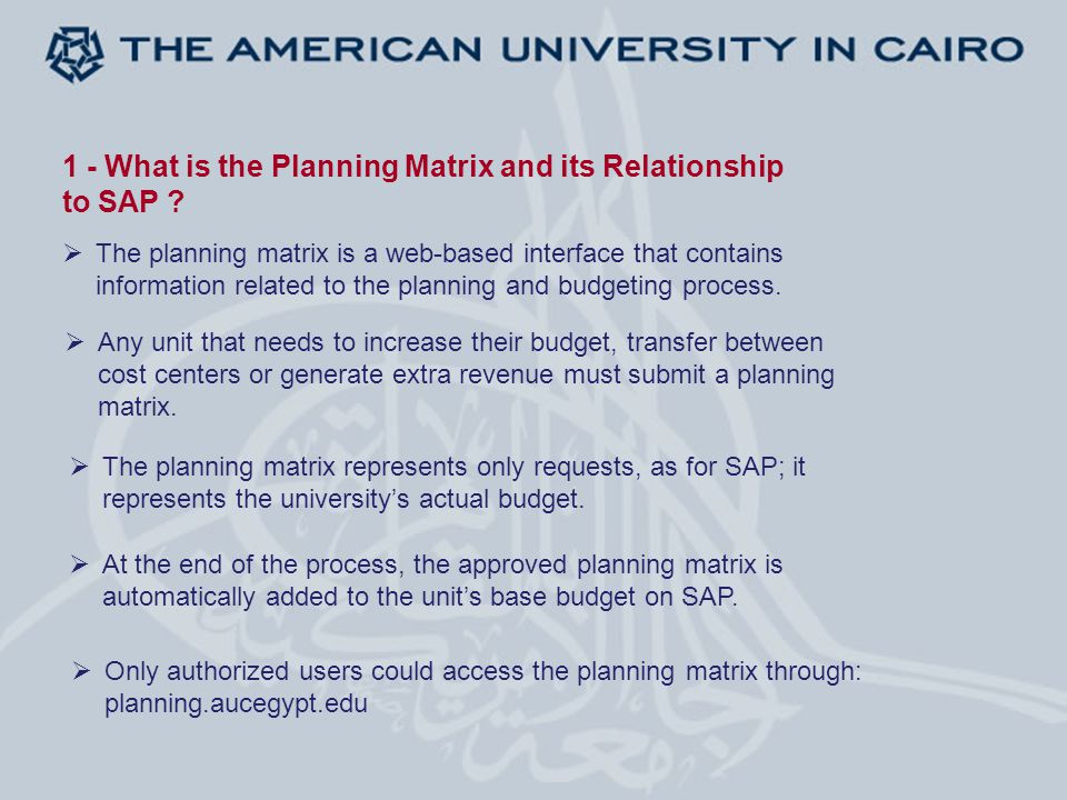 2 - The Difference Between the Five Planning and Budgeting Versions  Version 5: Directors, Department Chairs (Submission Level)  Version 4: AVPs, Deans, Executive Directors  Version 3: Area Heads  Version 2: University Cabinet  Version 1: Board of Trustees (Approved Budget) The five planning and budgeting versions represent different levels of approval: