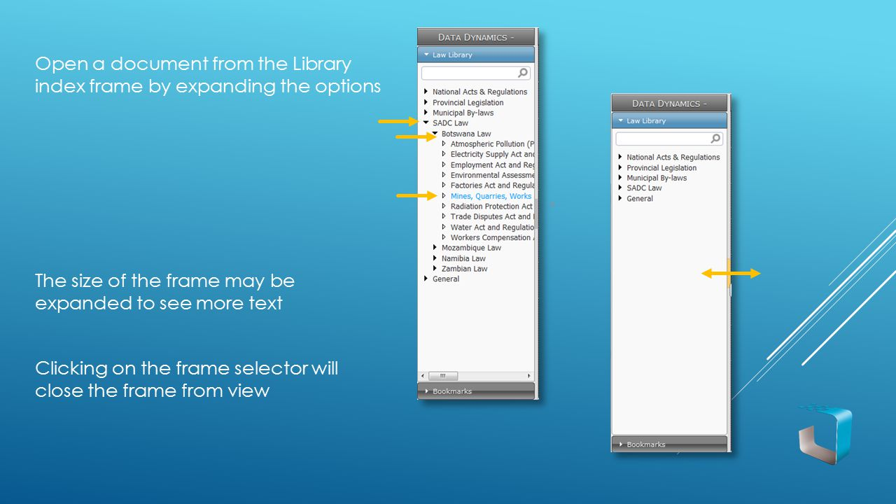 Open a document from the Library index frame by expanding the options The size of the frame may be expanded to see more text Clicking on the frame sel