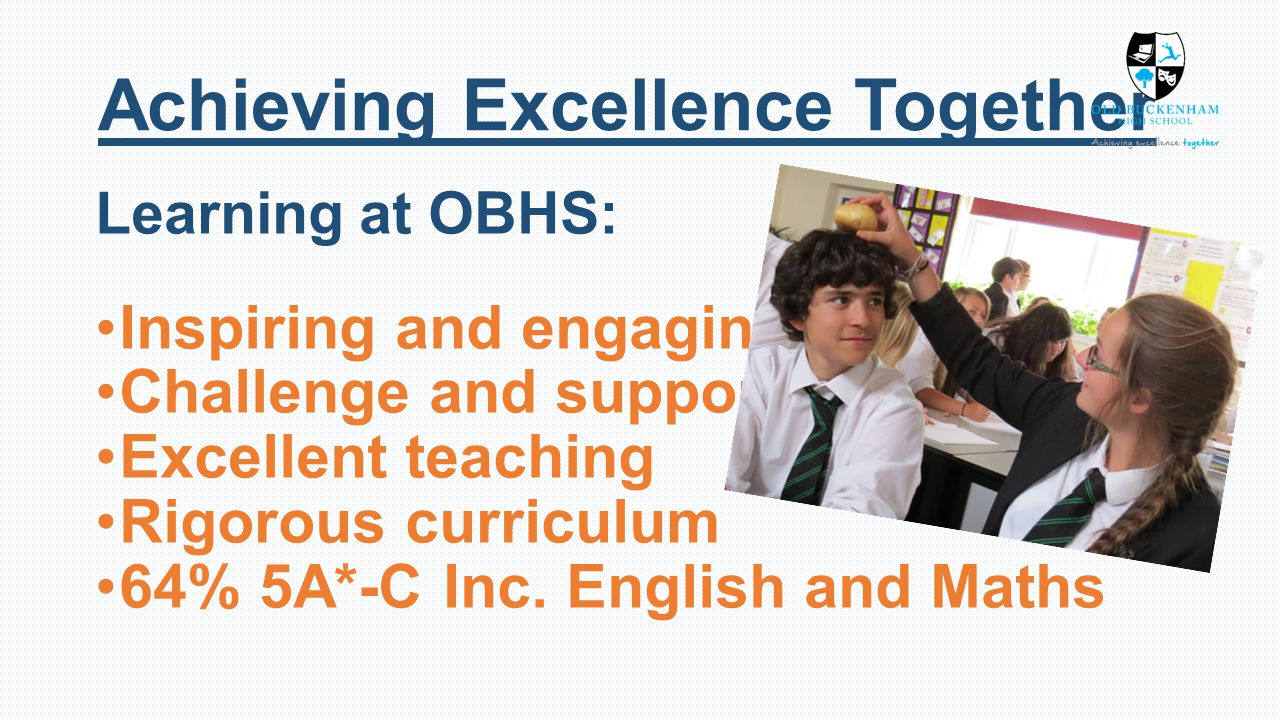 Learning at OBHS: Inspiring and engaging Challenge and support Excellent teaching Rigorous curriculum 64% 5A*-C Inc.