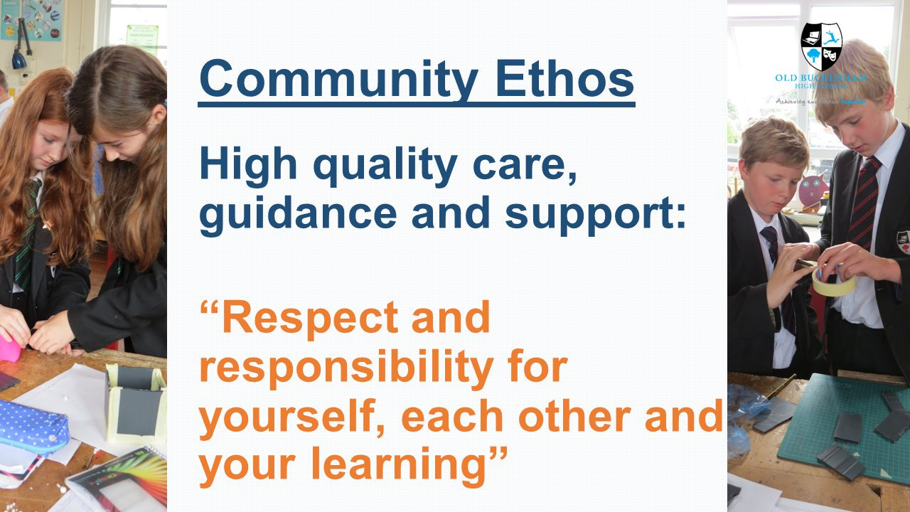 Community Ethos High quality care, guidance and support: Respect and responsibility for yourself, each other and your learning