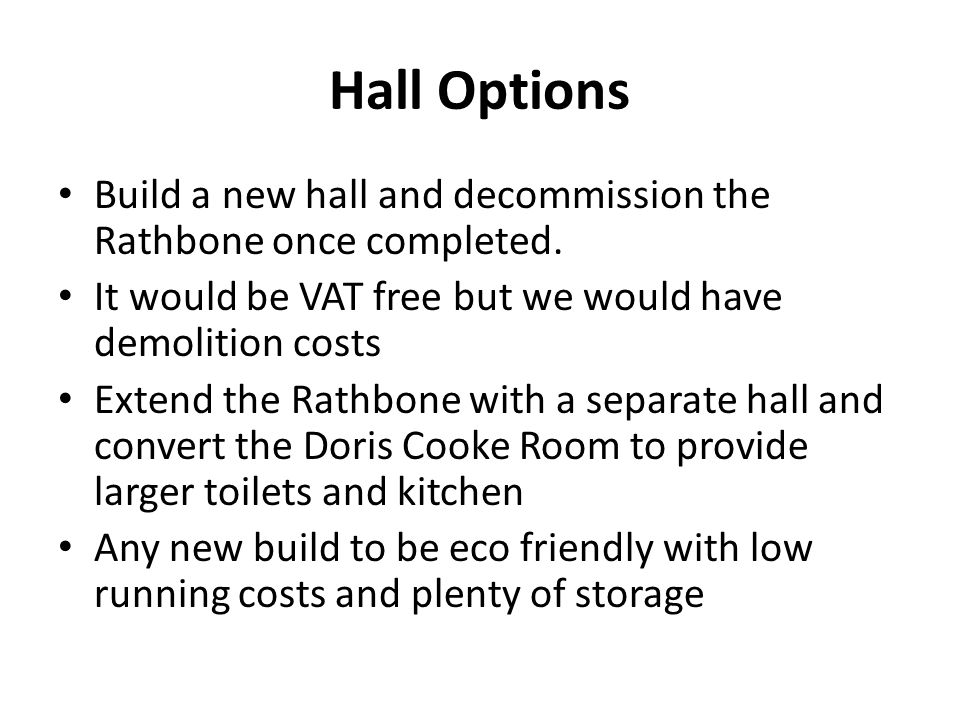 Hall Options Build a new hall and decommission the Rathbone once completed.